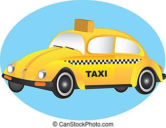taxi vector - yellow car over blue circle. vector...