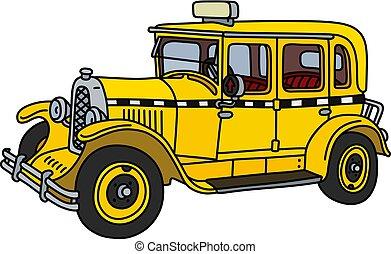 taxi, vendimia, amarillo