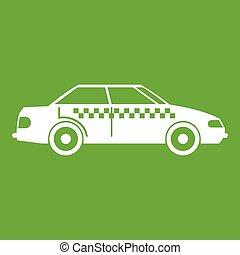 taxi, vert, icône