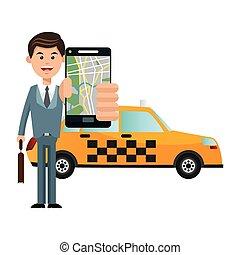 taxi, vervoer, ontwerp, voertuig