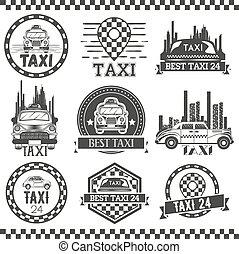 taxi, vervoer, service., ouderwetse , bedrijf, etiketten, iconen, ontwerp, emblems., communie, style., logo, taxi