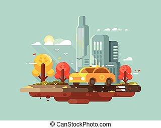 taxi, ville, conception, plat