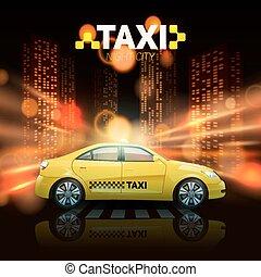 taxi, ville, fond
