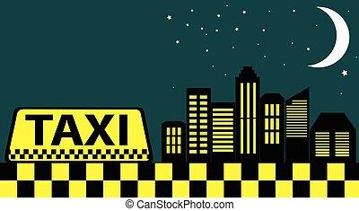 taxi, ville, gratte-ciel, noir, nuit, carte