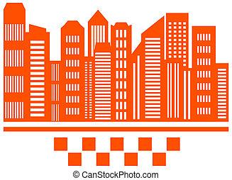 taxi, ville, symbole, gratte-ciel