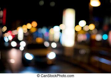 taxi, ville, voiture, -, brouillé, lumières, nuit, vue