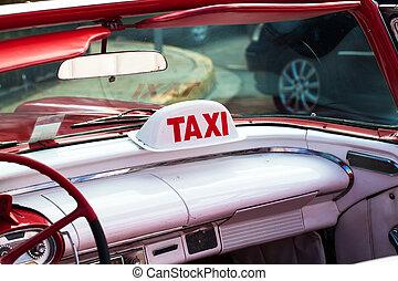 taxi, voiture, Américain,  cuba, classique