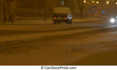 taxi, voiture, dépassement, nuit, neiger