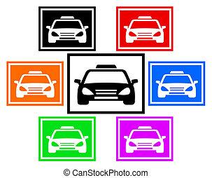 taxi, voiture, ensemble, coloré, icône