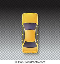 taxi, voiture, illustration, top., fond, jaune, vue, transparent, 3d
