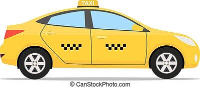 taxi, voiture, jaune