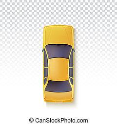 taxi, voiture passager, -, jaune, top., fond, illustration, vue, transparent, 3d