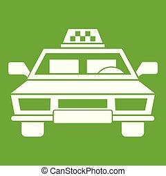 taxi, voiture, vert, icône