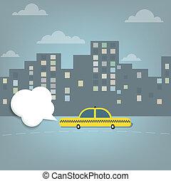 taxi, voiture, ville