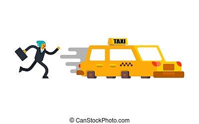 taxi., vorgesetzter, spät, rennender , meeting., geschäftsmann, suitcase.