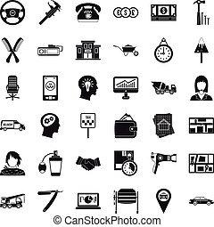 Taxi work icons set, simple style