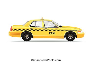Taxi Yellow Car Cab Isolated on white background. Vector Illustration.