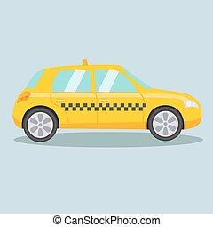 Taxi yellow car cartoon vector illustration