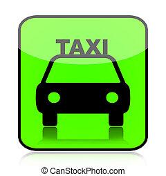 taxi, zöld, ikon