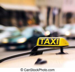 taxi zeichen, auf, auto, bewegung, verwischen