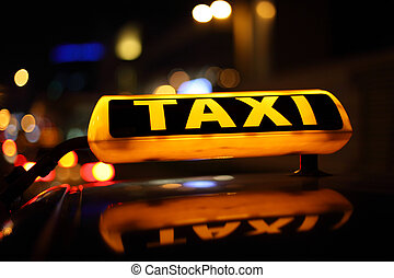 taxi zeichen, gelber , nacht