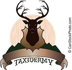 Illustration of a taxidermy design template. Includes a mounted deer and a banner for your text. Great for t-shirts.