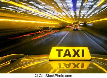 taxifahrzeuge, an, warb, geschwindigkeit