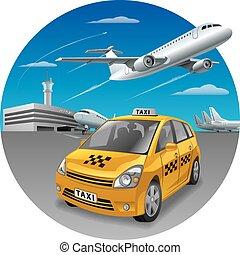 taxifahrzeuge, auto, flughafen
