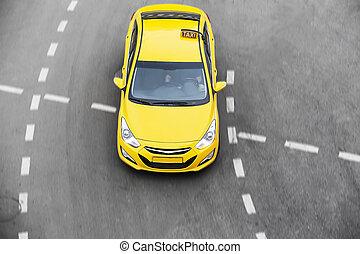 taxifahrzeuge, bewegt, auf, stadt