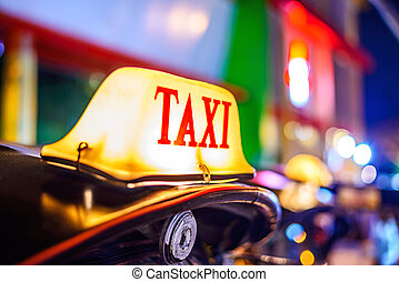 taxifahrzeuge, chiang, zeichen, lichter, defocused,...