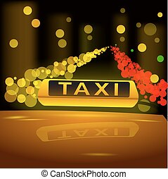 taxifahrzeuge, city., auto, gelbes zeichen, glühen, dach, nacht