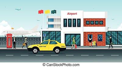 taxifahrzeuge, flughafen