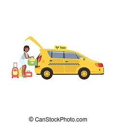 taxifahrzeuge, frau, sie, gepäck, auto, gelber , setzen, stamm