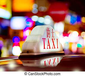 taxifahrzeuge, hongkong, nacht