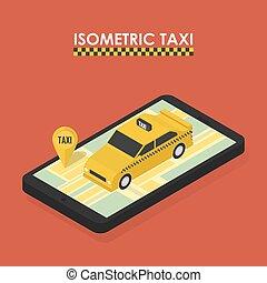 taxifahrzeuge, isometrisch, begriff, beweglich, app, buchung