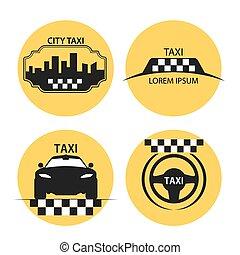 taxifahrzeuge, logo, vektor