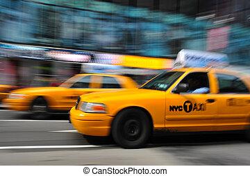 taxifahrzeuge, new york, blurry