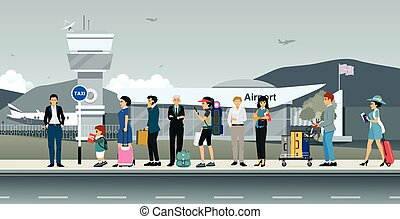 taxifahrzeuge, passagiere, warten