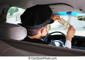 taxifahrzeuge, prüfung, banknote, treiber, dollar