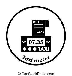 taxifahrzeuge, quittung, meter, ikone