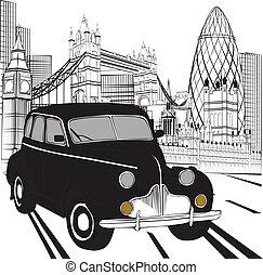 taxifahrzeuge, skizze, london