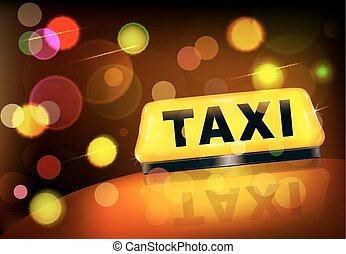 taxifahrzeuge, stadt, auto, gelbes zeichen, lichter, vektor, gegen, nacht