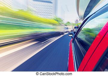 taxifahrzeuge, stadt, durch, fahren