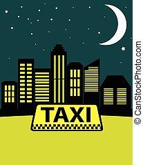 taxifahrzeuge, stadt, hintergrund, skyscrapers., nacht