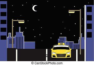 taxifahrzeuge, stadt, vektor, taxi, nacht