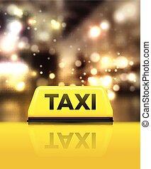 taxifahrzeuge, straße auto, abbildung, vektor, night.