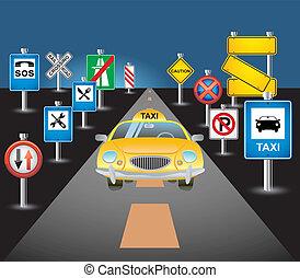 taxifahrzeuge, straße