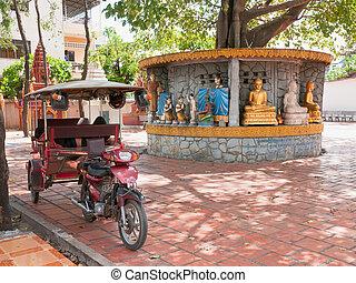 taxifahrzeuge, tuk-tuk, phnom, tempel, penh