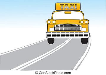 taxifahrzeuge, weg