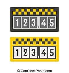 taximeter, ikona, set., vektor